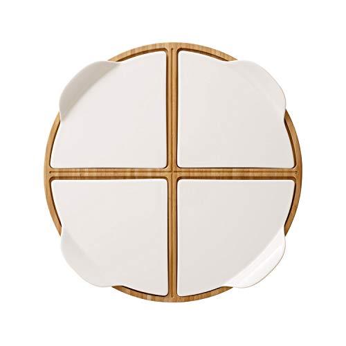 Villeroy und Boch Pizza Passion Partyplatte, 5-teilig, Rund, Bambus/Premium Porzellan, Weiß