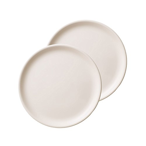 Villeroy und Boch - Pizza Passion Pizzateller 2tlg. Set, weiße Speiseteller mit leicht erhobenem Rand aus Premium Porzellan, spülmaschinenfest, 34 cm