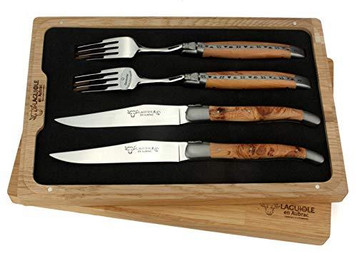 Laguiole en Aubrac - 2 Steakmesser und 2 Gabeln im Set - Griff Wacholder Holz - Original Frankreich mit Zertifikat