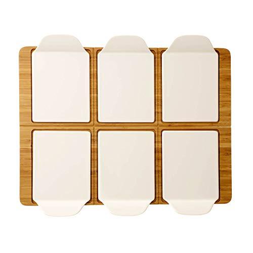 Villeroy und Boch Pizza Passion Party-Platte für bis zu 6 Personen, 7-teilig, Rechteckig, Bambus/Premium Porzellan, Weiß